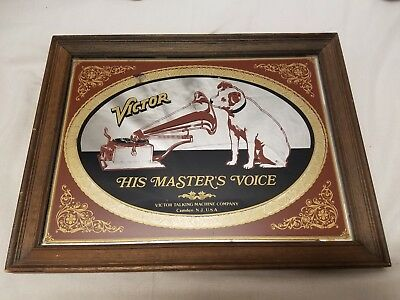 Victor Talking Machine~His Masters Voice~RCA Nipper Dog~Framed Mirror~Vintage