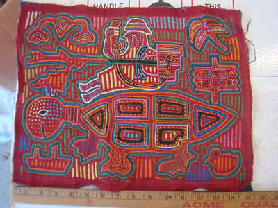 Great OLD Panama Mola Cuna Indians Alien? On Turtles back Telephone, Raygun #4