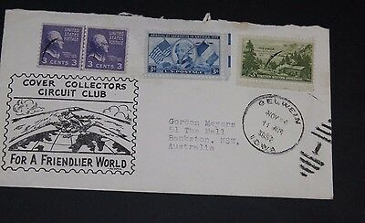 Usa 1952 Illustrated Circuit Collectors Club  First Day Cover To Aust