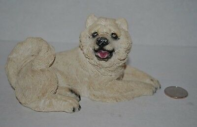 "VTG Chow Chow DOG Figurine/Sculpture SANDICAST White 6.6""L Italy"