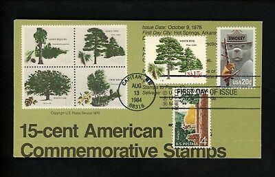Ranto Cachet US FDC #2096 on 1764-1767 w/ 1122 Smokey Bear Forest trees 1984