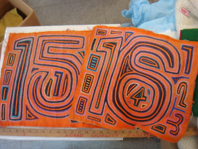 2 Great OLD Panama Molas Cuna Indians Bidding On TWO Molas Featuring Numbers  #8