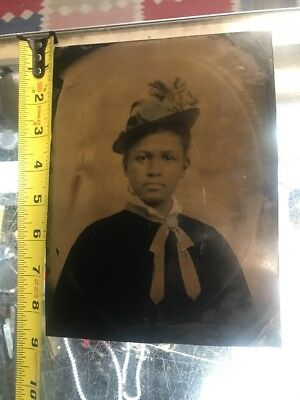 Rare Large Antique Tintype of Beautiful African American Woman 1800's Amazing