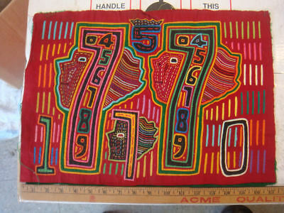 Great OLD Panama Molas Cuna Indian Featuring Faces And Numbers  #9