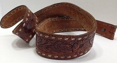 Vintage - Thick Cowhide - Whip Stitched - Tooled - Belt - Free Shipping