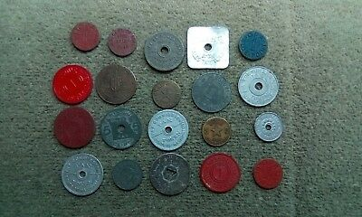 Salvage Find Lot of 20 Tax Tokens , OPA Blue Red Ration Tokens