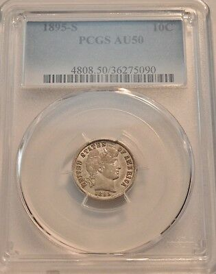 1895 S 10C PCGS AU 50 Barber Silver Dime, Scarce Date LIBERTY, Problem Free Coin
