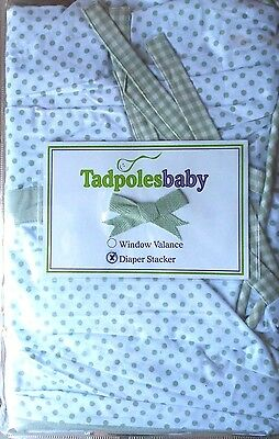NIP Tadpoles Baby Toile Diaper Stacker Sage Unisex Made in USA Cotton Polka Dots
