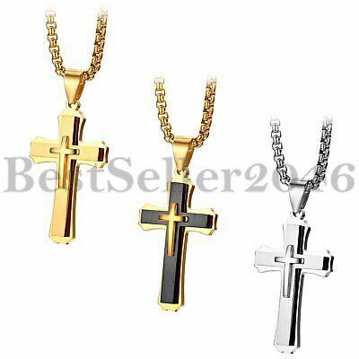 Polished Stainless Steel Men Women Cross Crucifix Pendant Necklace Chain 22""