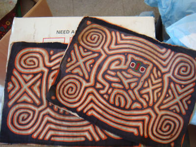 TWO Great OLD Panama Molas Cuna Indian Featuring Owl And Geometrics #11