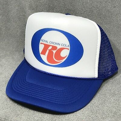 cad6939aedc RC Royal Crown Cola Soda Pop Vintage Trucker Hat Retro Snapback Cap Blue    White