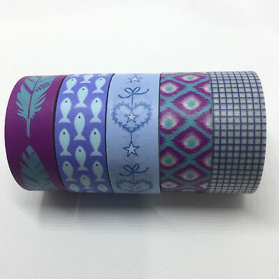 Washi Tape Set Blue/violet 5 Rolls X 15Mm X 5Mtr Plan Craft Scrap Wrap Mail Art