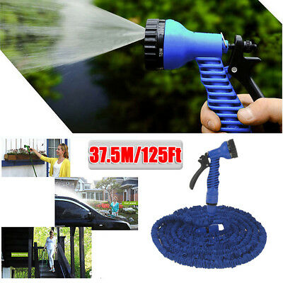 7In1 37.5m 125Ft Water Hose Expandable Pocket Garden Pipe Spray Nozzle Head Blue