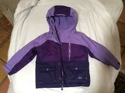 REI toddler 3T winter jacket, hooded and fleece lined, 3-tone purple