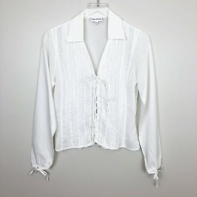 Anne Fontaine 3 Joelle White Blouse Top Lace Up Ruffle Romantic Victorian M