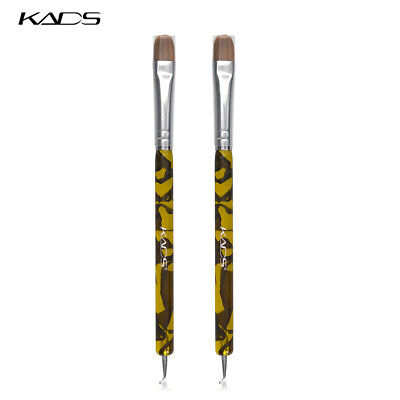 KADS 2Pcs Kolinsky Sable Acrylic Brush French 2 Way Nail Art Brush Dotting Pen