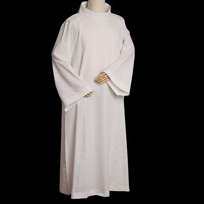 BLESSUME Mass Alb Catholic Priest Vestments Roll Collar Solid Clergy Robe Size M