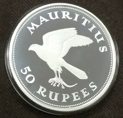 1975 MAURITIUS 50 Rupees Kestrei Falcoln 925 Silver Proof Crown Only 9513 Minted