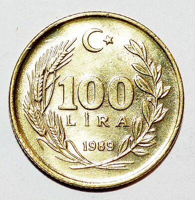 1989 TURKEY 100 LIRA vintage world foreign BRILLIANT A+ COIN