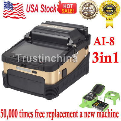 "50000 Ai-8 Automatic Optical Fiber Fusion Splicer Night Operation 5"" LCD Display"