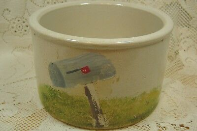 Vintage R. R. P. Co. Roseville Oh Pottery Crock With Painted Design