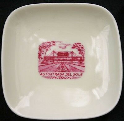 Vintage AUTOSTRADA DEL SOLE Souvenir Ashtray Italy