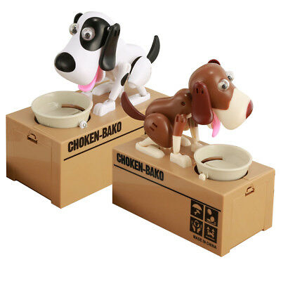 Cute Hungry Robotic Dog Puppy Bank Coin Eating Save Canine Money Box