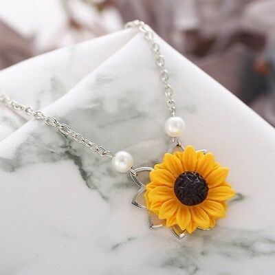 Women Yellow Gold Plated Sunflower Leaf Branch Charm Pendant Long Necklace