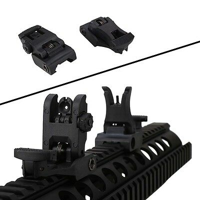 Nylon Low Profile Front And Rear Flip Up Picatinny Iron Sights Set Matte Black