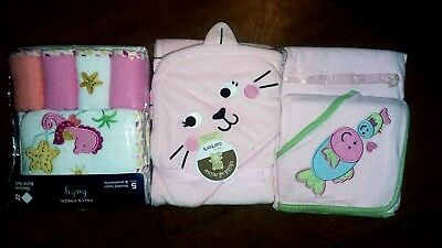 Baby Girls Hooded Towel Lot Of 3 and Washcloths  Kitten, Seahorses, & Fish NWT