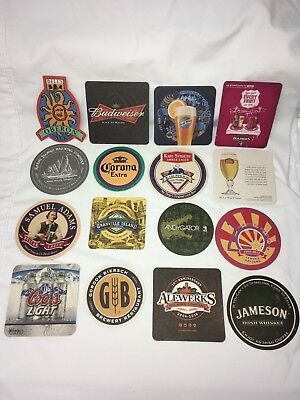 LOT of 16 Beer Coasters Whiskey BAR Mats Some New Mostly USA brews