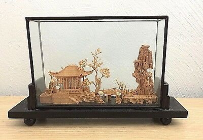 Stunning Chinese Cork Carving Landscape Art Collection with Glass Frame Vintage