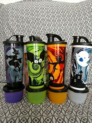 Tupperware Halloween Witch~Cat~Ghost~Bat 16oz. tumblers w/matching snack cups