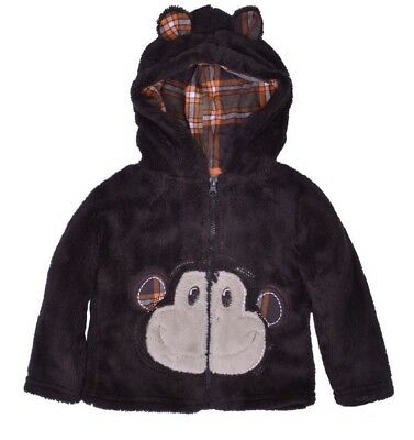 NWT Toddler Brown Monkey Fuzzy Zip Up Hoodie /Jacket Size 2T