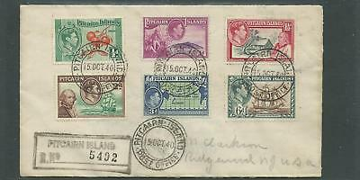 Pitcairn Island - 1940 Registered Cover To Usa *scarce Item*