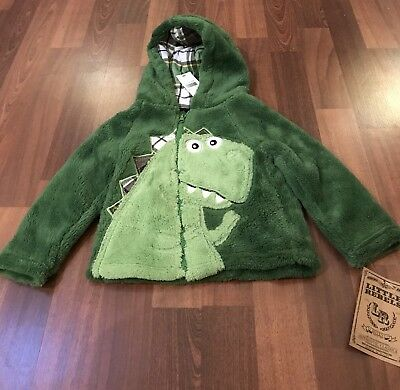 NWT Toddler Green Dinosaur Fuzzy Zip Up Hoodie /Jacket Size 2T