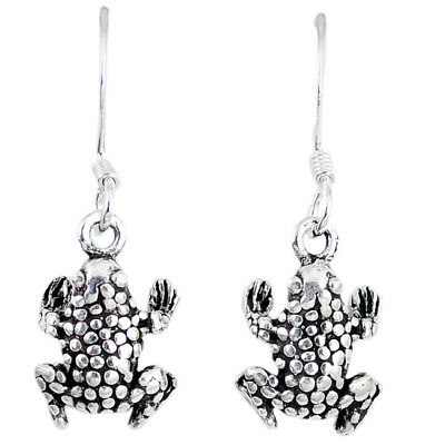 5.21gms Indonesian Bali Style Solid 925 Silver Frog Earrings The Jaipur Shop