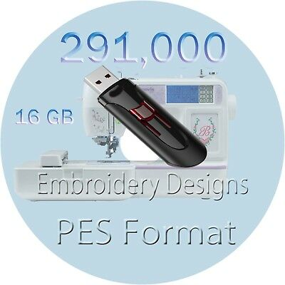 Embroidery designs 291,000+  PES Files brother machine 16 GB USB  drive Memory