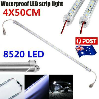 4X12V Waterproof Cool White 8520 LED Strip Light Bar Camping Caravan Boat Car