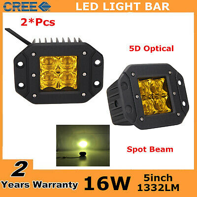"2X 16W Square Amber Cube Flood LED Work Light Bumper 3x3"" Yellow Ford Fog 5D+ 24"