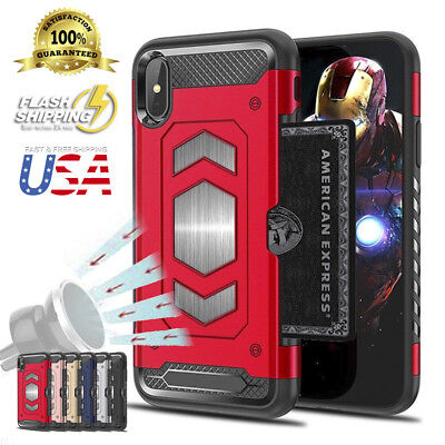 Fits iPhone Heavy Duty Body Armor Protector Slim Card Holder Magnetic Case Cover