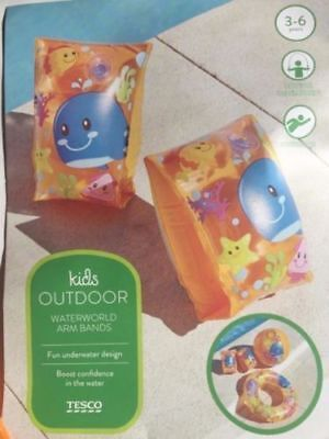 KIDS OUTDOOR WATER WORLD ARM BANDS, pink , orange or yellow with Whale Picture