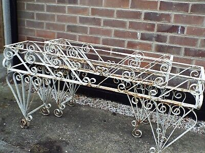 Antique Styled Wrought Iron Garden Flower Troughs x 2 sizes need TLC