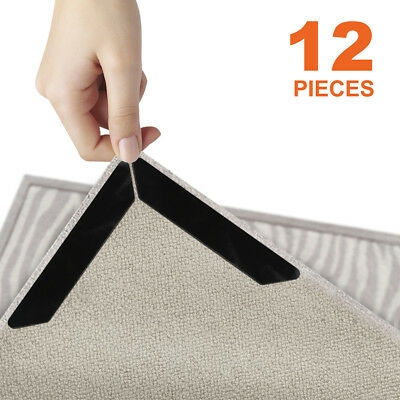 12pcs Rug Gripper Pads Anti Curling Non Slip Carpet Anchors Super Sticky Holders