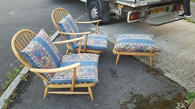 A Pair Of Ercol Vintage 203 Windsor Armchairs + 341 Footstool. Nice Set Look!