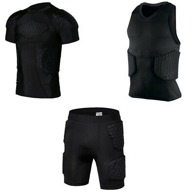 Men Crashproof Padded Sport Compression Shirt Vest Football Shorts Rib Protector