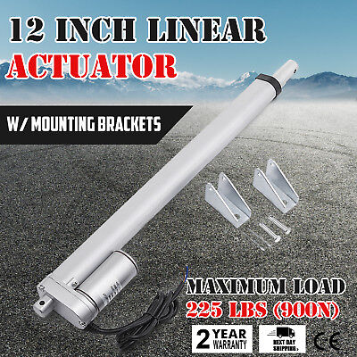 """12"""" Inch Silver Linear Actuator Stroke 225 Pound Max Lift Output 12V Volt DC"""