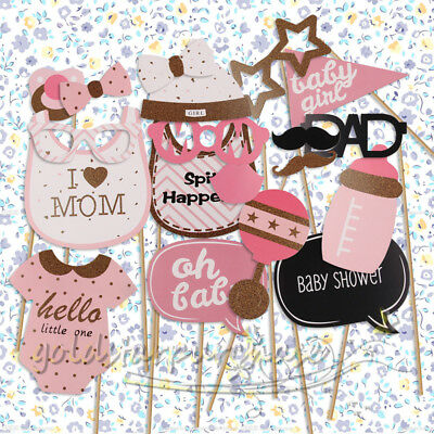 20 Baby Shower Girl Photo Booth Props Gender Reveal Selfie New Born Party Game