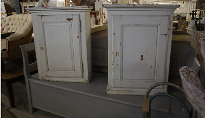 Pair of rustic painted kitchen cupboards