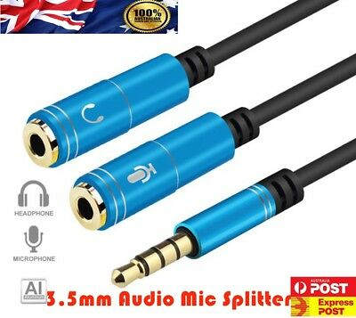 3.5mm AUX Cable Audio MIC Splitter Headphone Earphone Adapter Male to Female AU